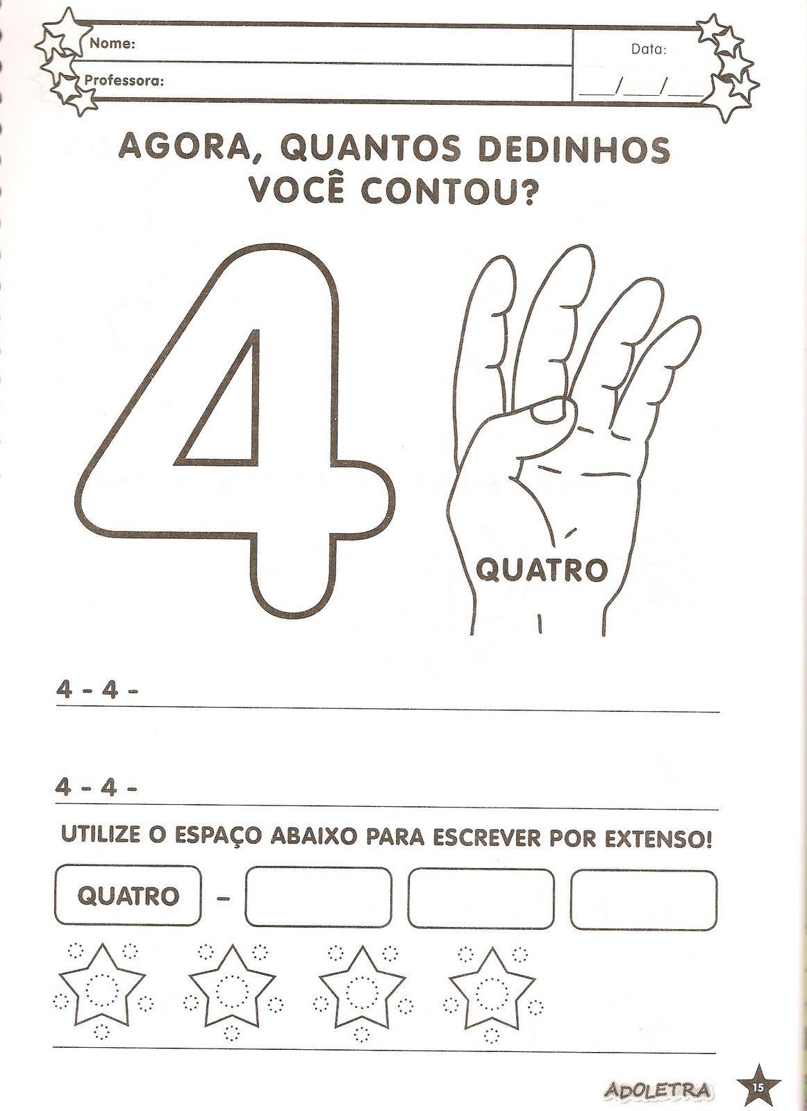 atividades com numero 4 para educaÇÃo infantil