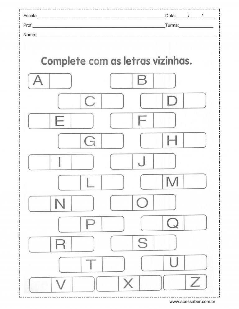 atividade para completar o alfabeto para sala de aula
