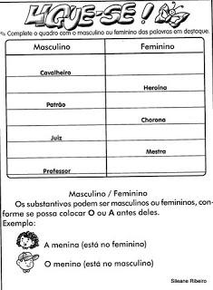 ATIVIDADES SUBSTANTIVO MASCULINO E FEMININO