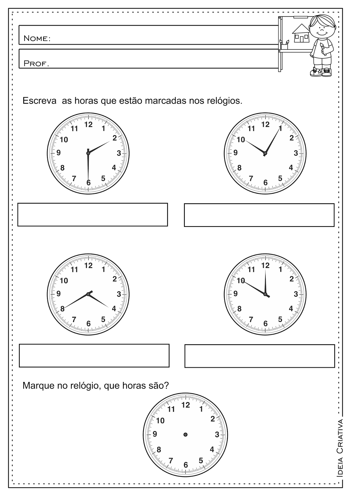 Atividades Com Horas E Minutos Atividades Pedagogicas