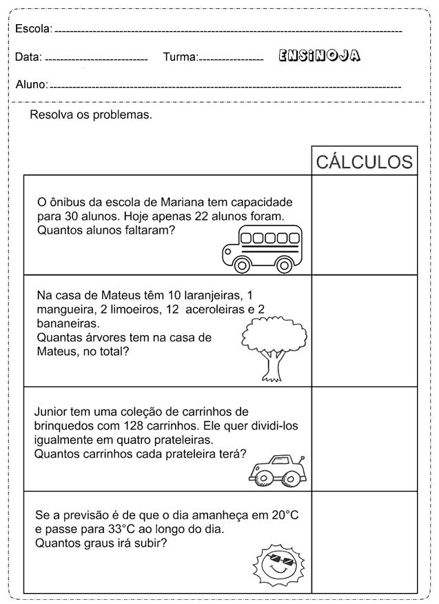 Atividades De Problemas Matematicos Para O 2º Ano