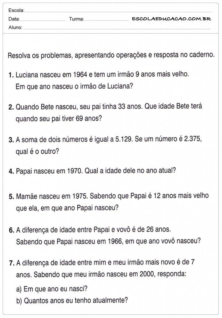 Atividades De Problemas Matematicos Do 6º Ano