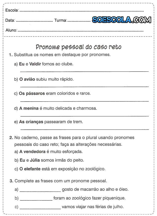 Atividades de Pronomes Retos e Oblíquos