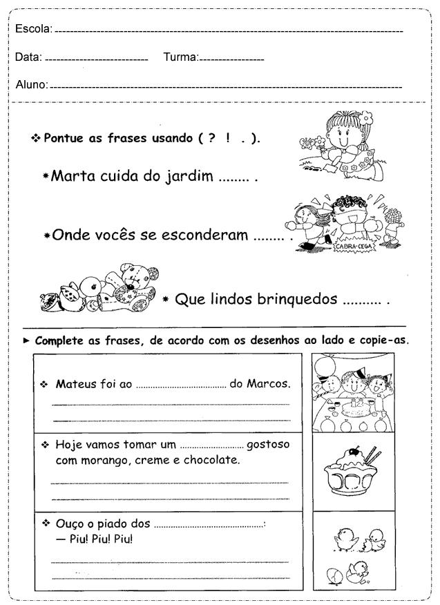 ATIVIDADES SOBRE SINAIS DE PONTUAÇÃO