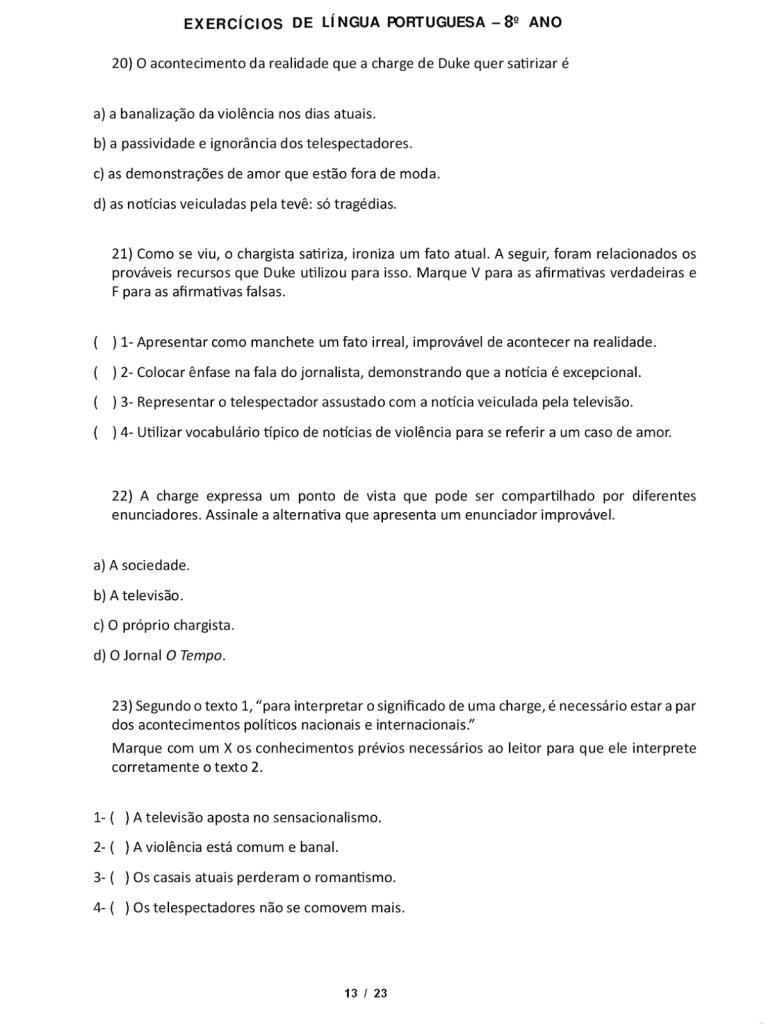 IDEIAS DE ATIVIDADES SOBRE APOSTO PARA 8º ANO