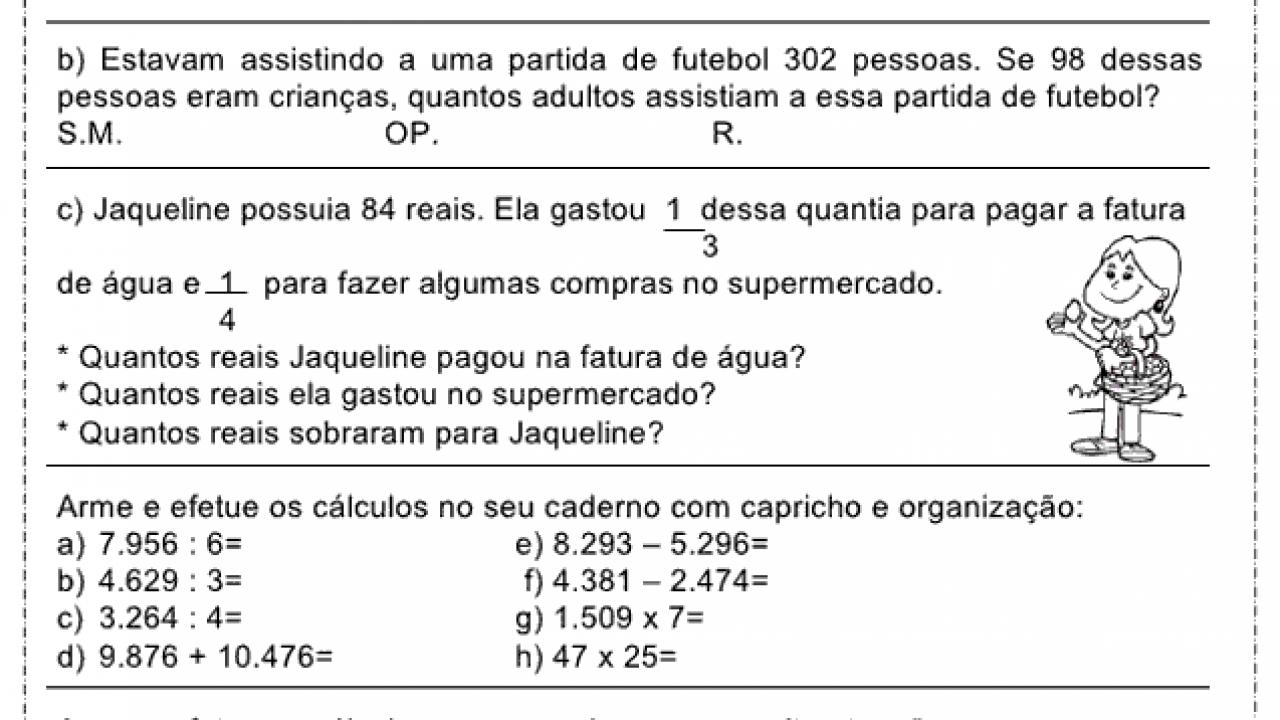 Atividades De Problemas Matematicos Para O 3º Ano