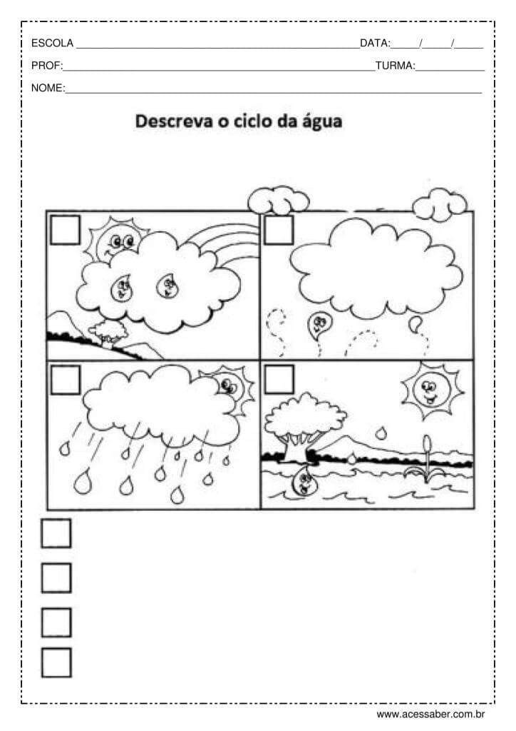 ATIVIDADES SOBRE O CICLO DA ÁGUA PARA 3° 4° ANO