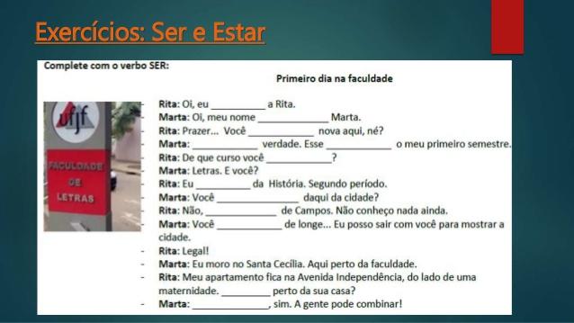 IDEIAS DE ATIVIDADES SOBRE O VERBO SER