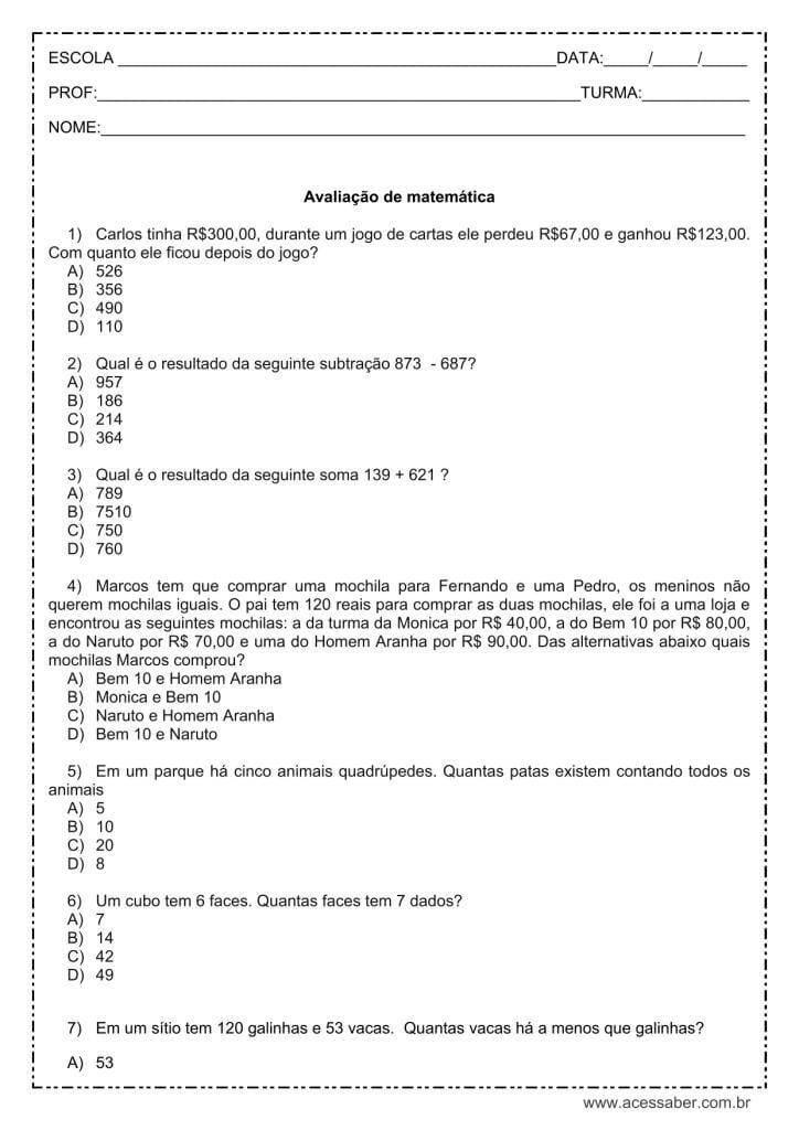 AVALIAÇÕES DE MATEMÁTICA PARA O 5º ANO