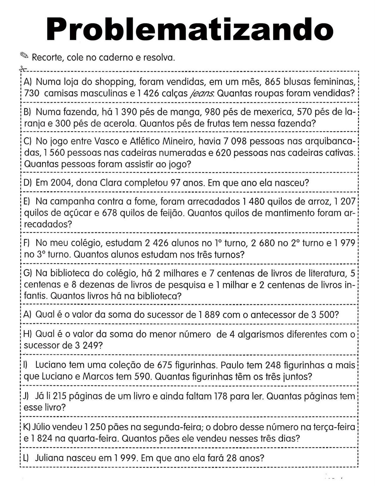 Ideias De Problemas De Matematica Para O 4º Ano