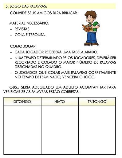 ATIVIDADES DE DITONGO, TRITONGO E HIATO