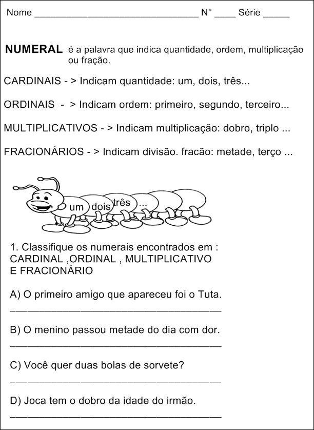 Atividades com Numerais Cardinais, Ordinais, Fracionários e Multiplicativos