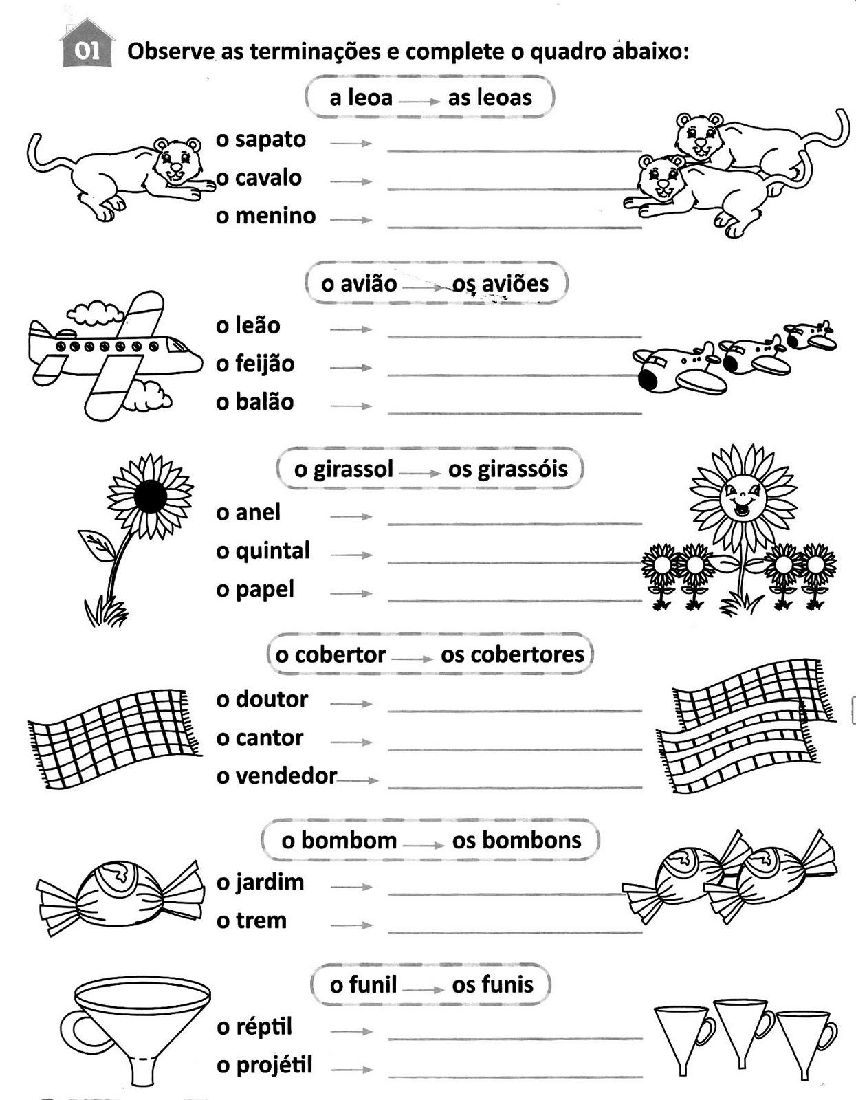 atividades singular e plural