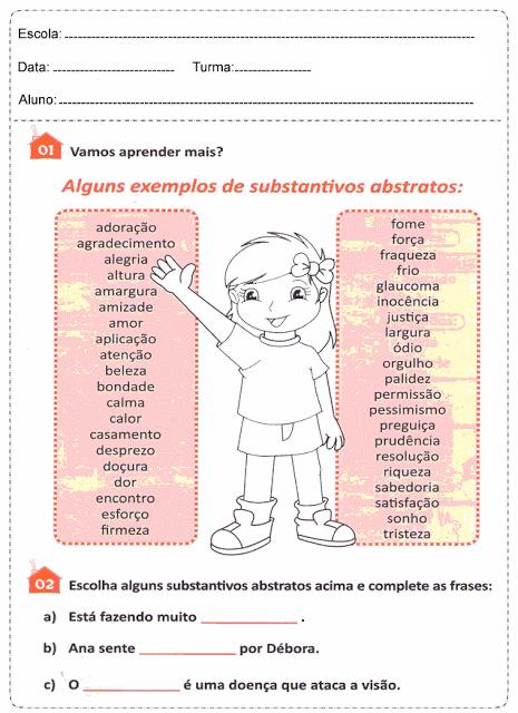 Atividades Com Substantivos Concretos e Abstratos