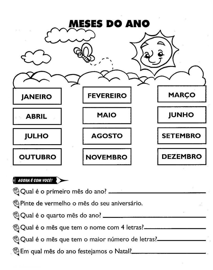 Atividades Sobre os Meses do Ano Em Português