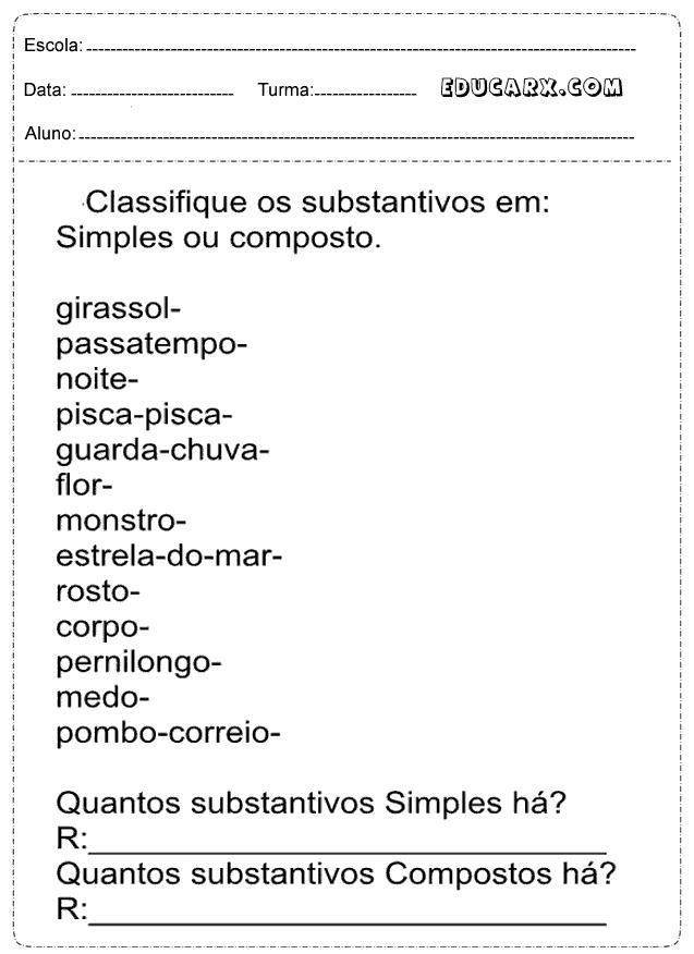 Atividades Com Substantivos Simples e Composto
