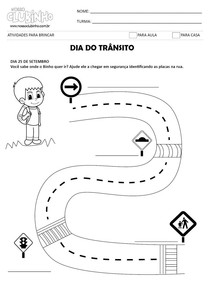 atividades com placas de transito