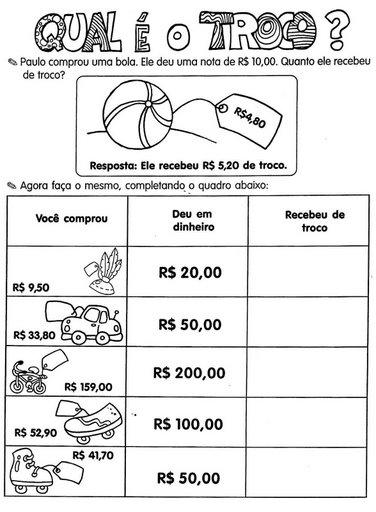 atividades de sistema monetario ensino fundamental