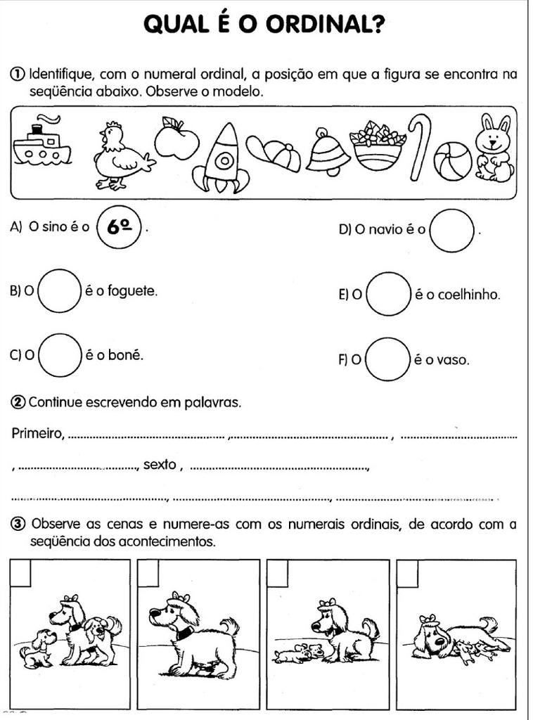 ATIVIDADES DE MATEMÁTICA COM NÚMEROS ORDINAIS