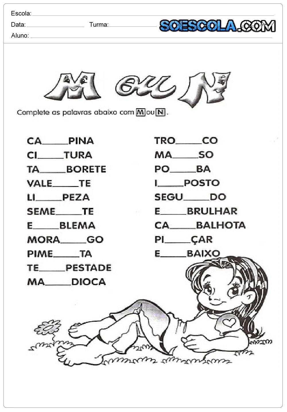 Atividades para Completar com M ou N