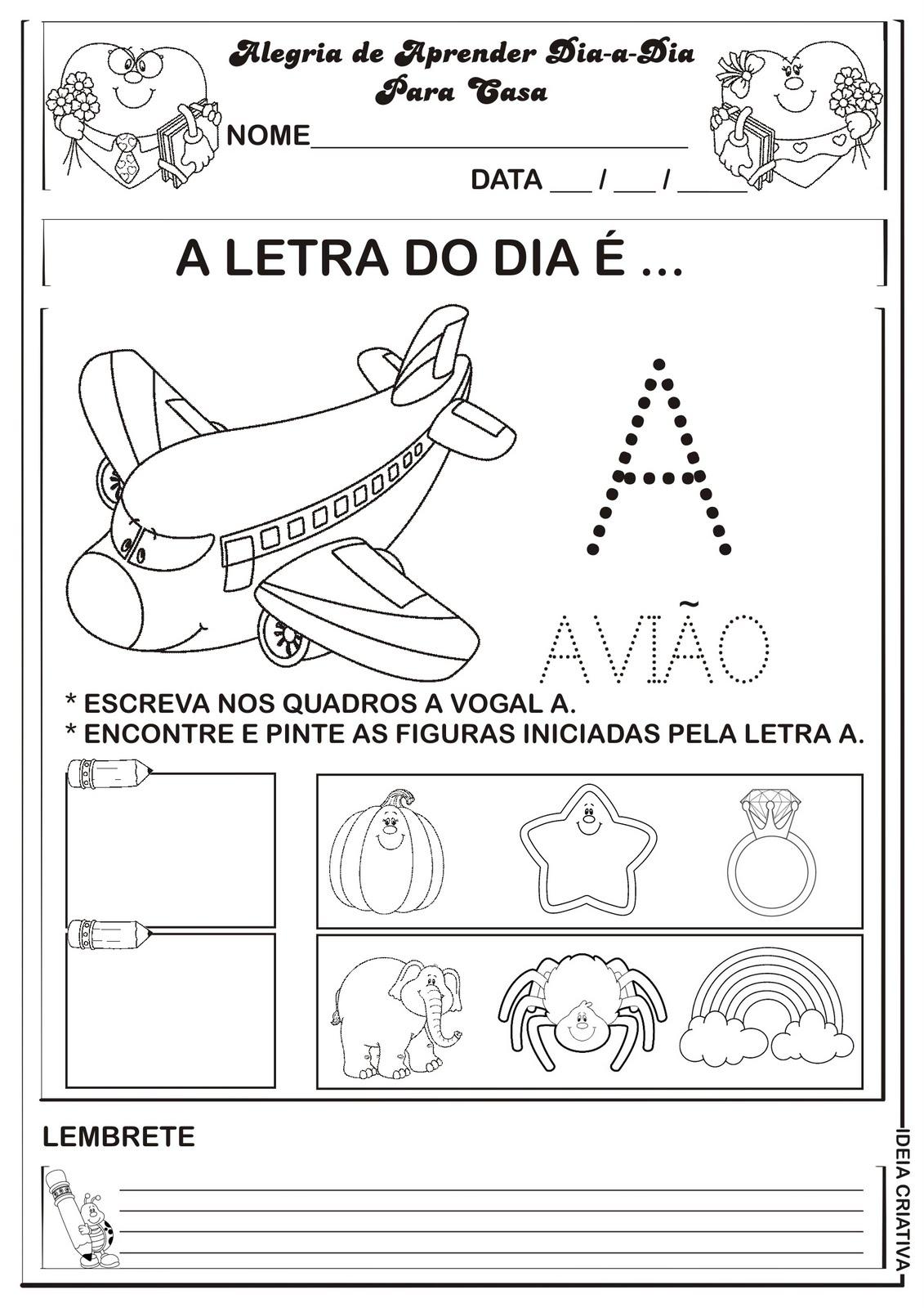 Atividades Com Vogais Pontilhadas Para Imprimir Educacao Infantil