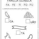 Atividades com a Família Silábica do F – FA FE FI FO FU