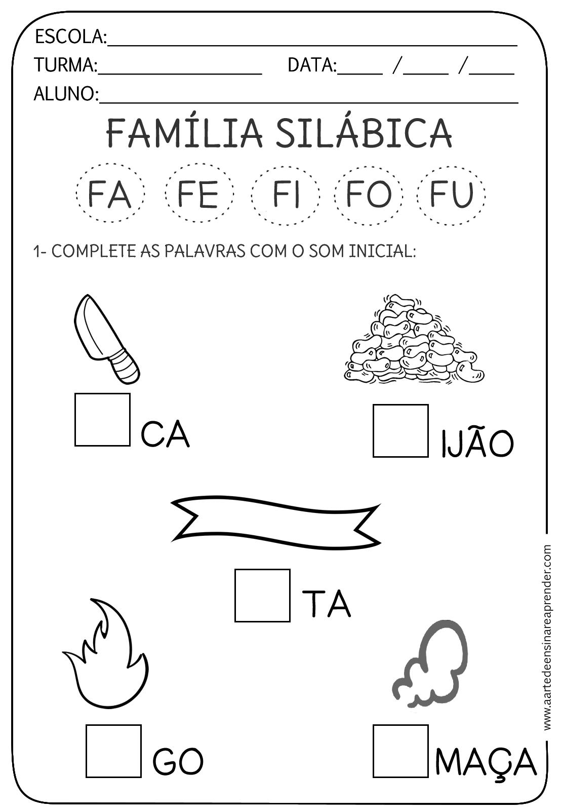 Atividades com a Família Silábica do F