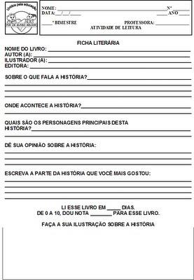 FICHA LITERÁRIA PRONTA PARA IMPRIMIR