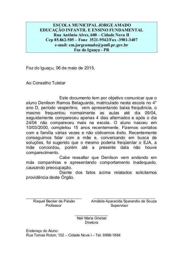 relatorio de aluno indisciplinado