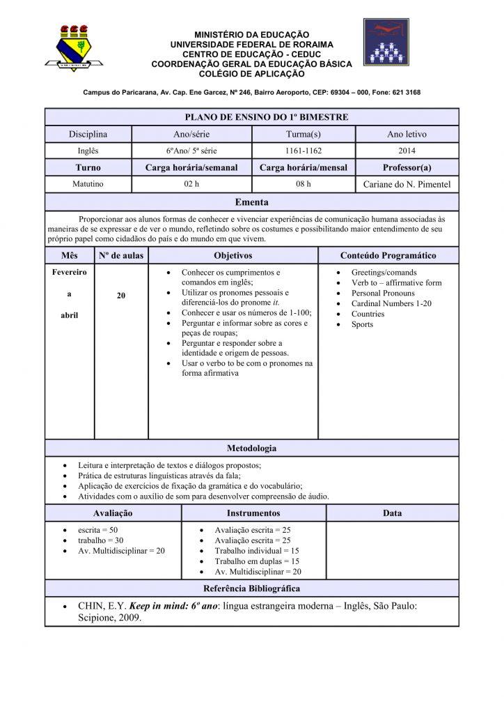 Planejamento anual de inglês para o 6° ano