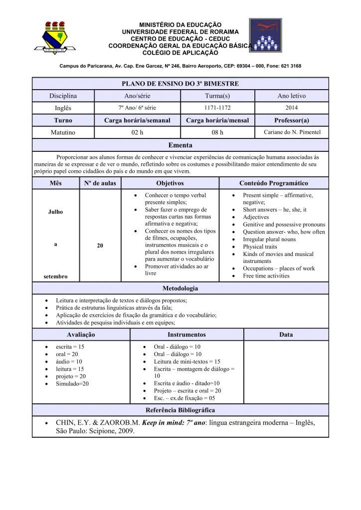 Planejamento anual de inglês para o 7° ano