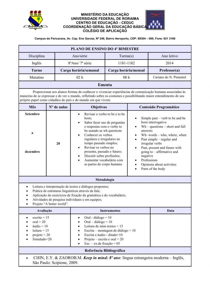 Planejamento anual de inglês para o 8° ano
