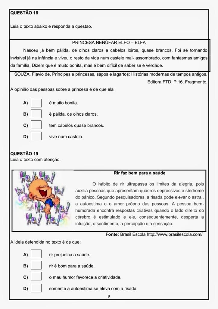 AVALIAÇÃO DIAGNÓSTICA DE PORTUGUÊS - 4 ANO