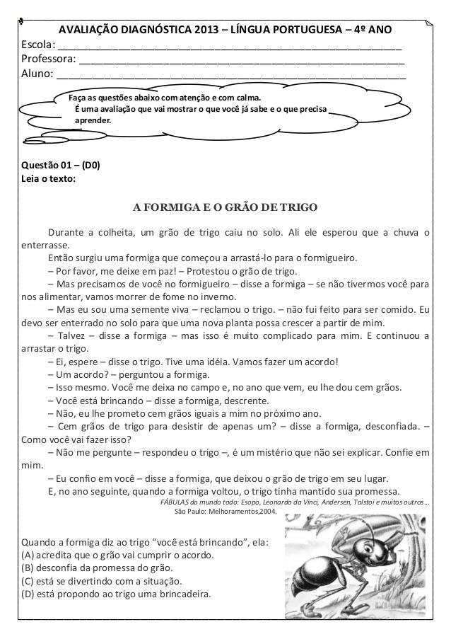 Avaliação diagnóstica de Portuguêspara o 4 ano