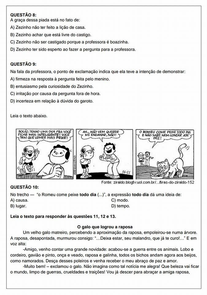 avaliações diagnósticas de Português do quarto ano