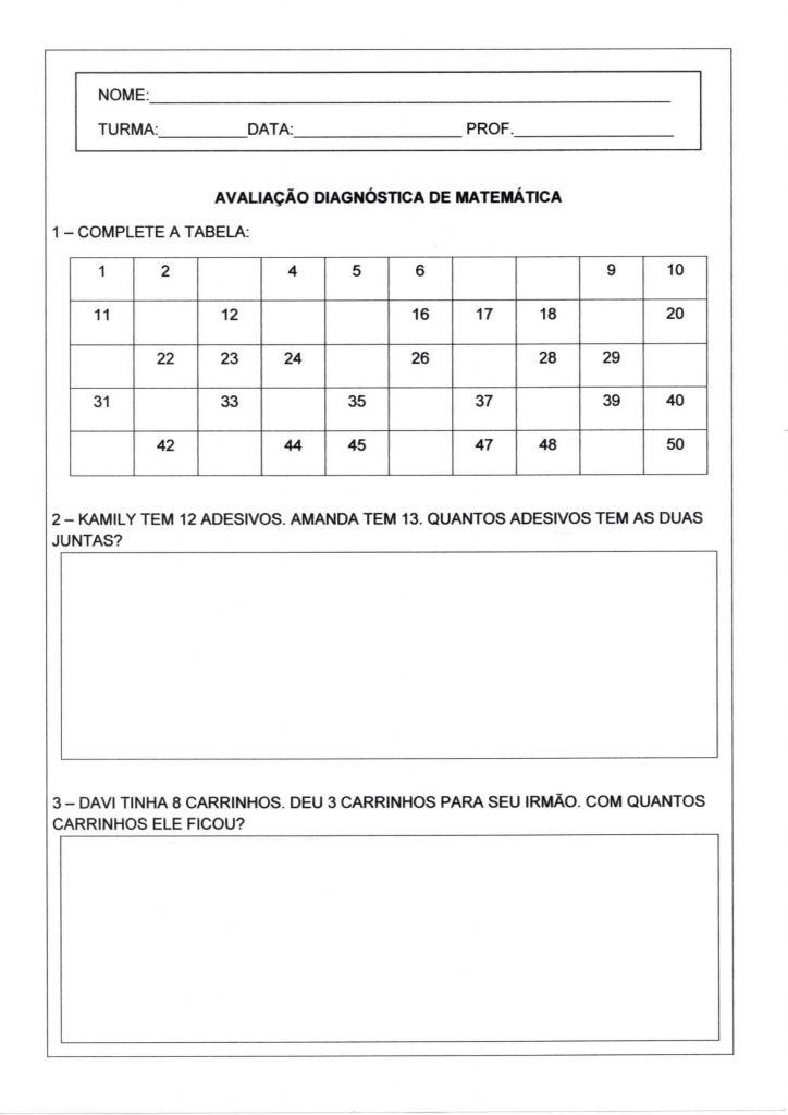 Avaliação diagnóstica de matemática para o 1 ano