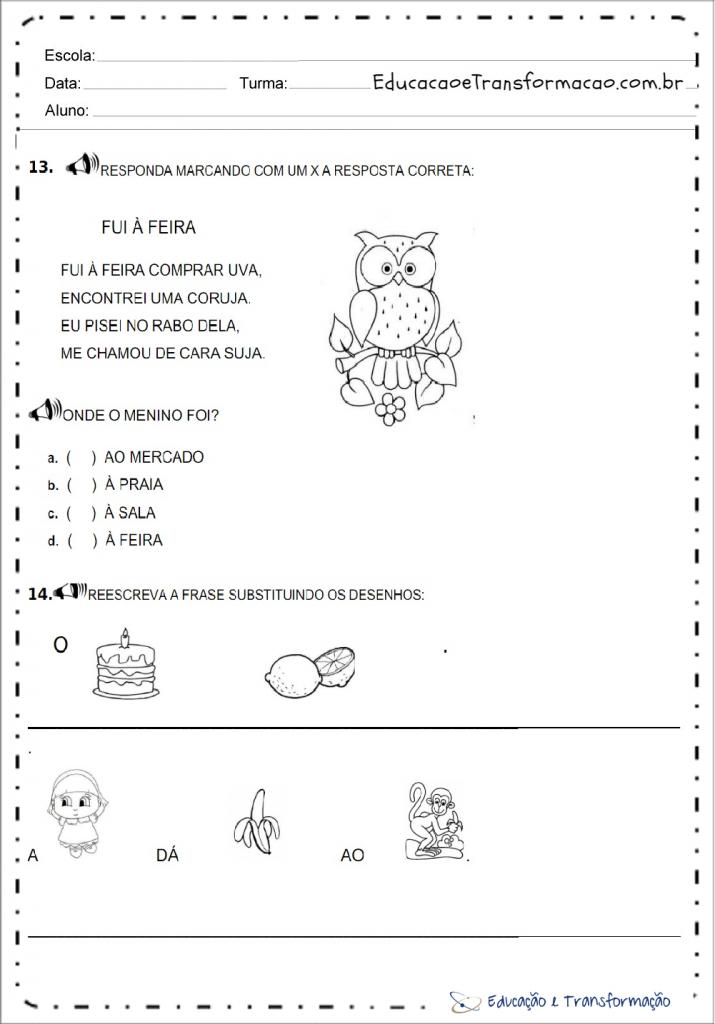 Avaliação diagnóstica de português para 1 ano