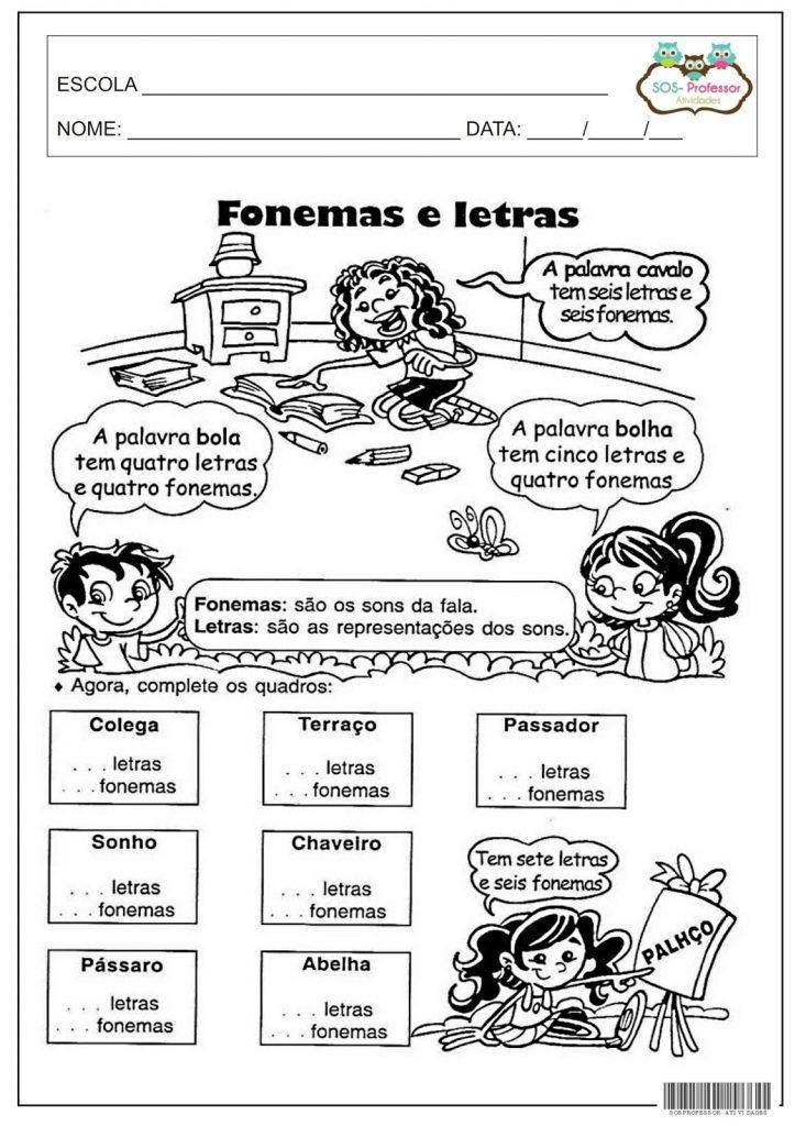 ATIVIDADE SOBRE GRAFEMA E FONEMA