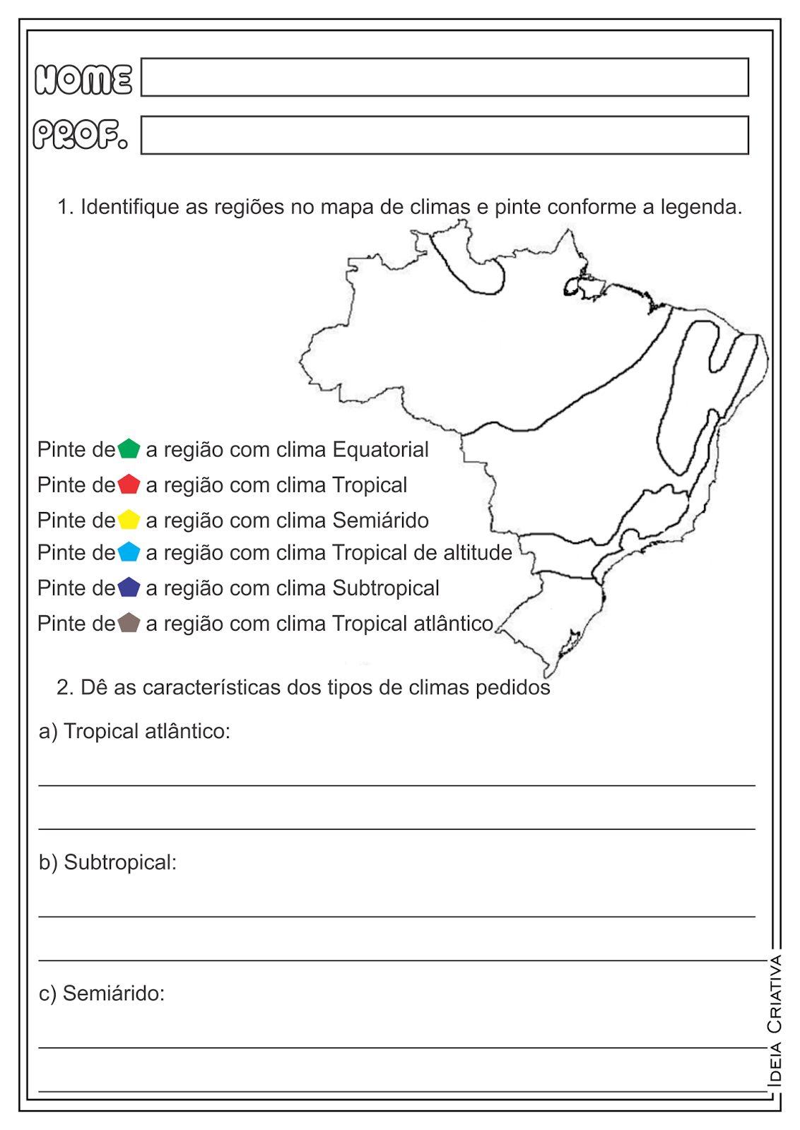 Atividades Sobre Os Climas Do Brasil Para 4 Ano