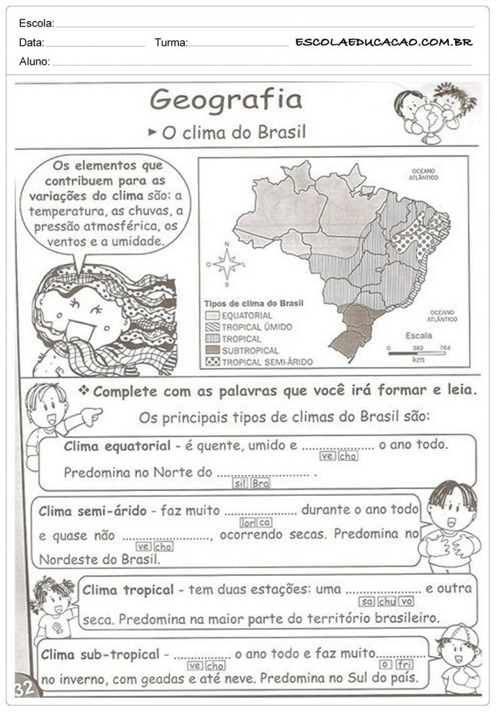ATIVIDADES SOBRE OS CLIMAS DO BRASIL