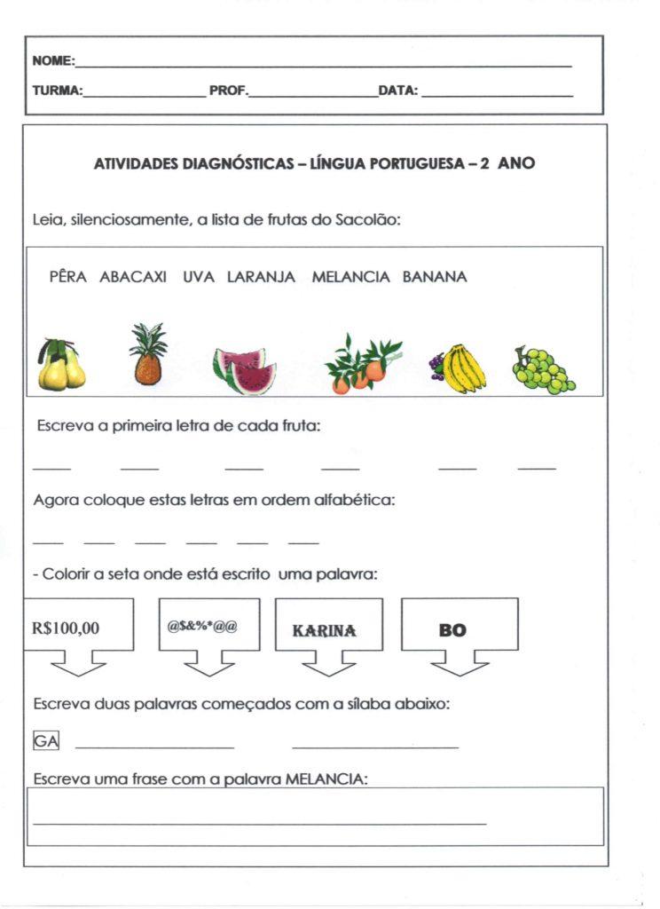 Avaliação diagnóstica de português para o 2 ano