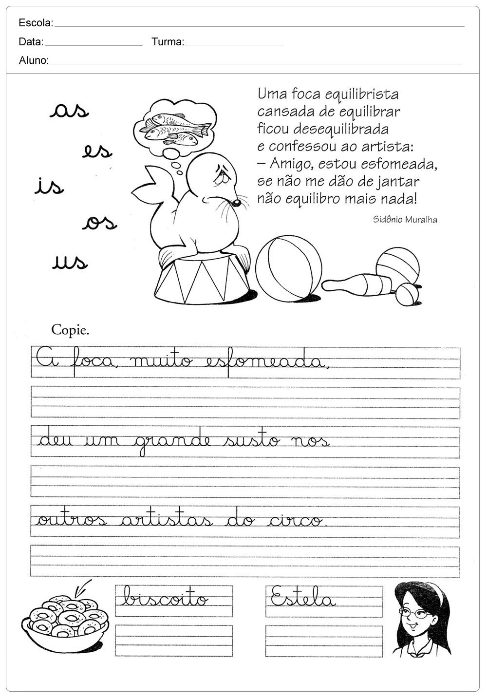 FOLHA DE CALIGRAFIA PARA IMPRIMIR