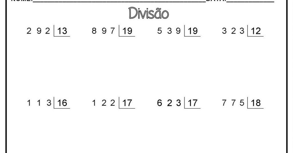 Atividades de Divisão com Dois Algarismos no Divisor