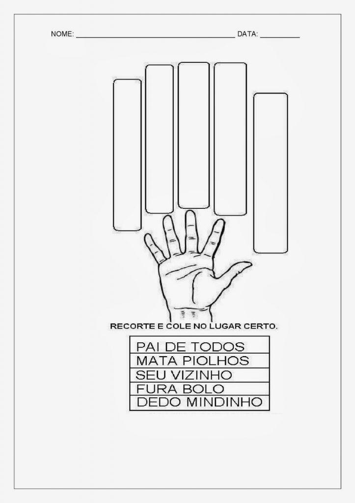 Atividades sobre o Nome dos Dedos da Mão e do Pé