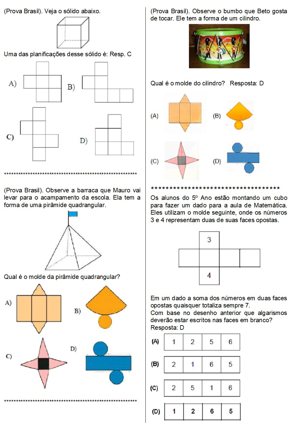 atividades com poliedros e corpos redondos