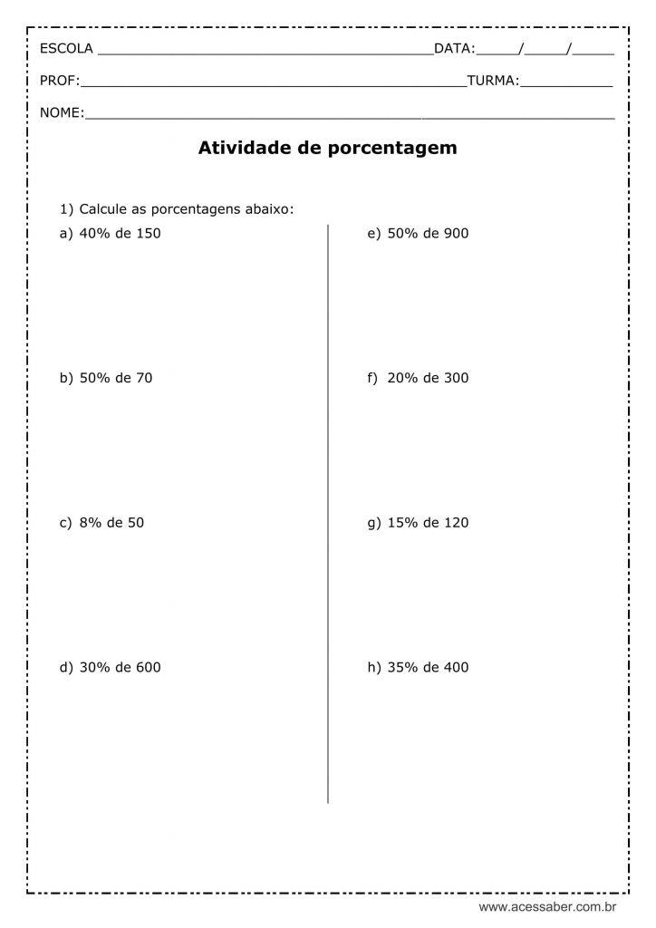 Exercícios de Porcentagem para o Ensino Fundamental