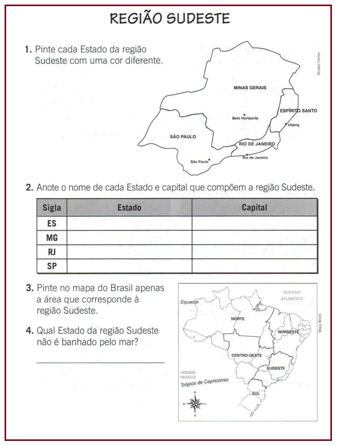 Atividades Sobre a Região Sudeste do Brasil