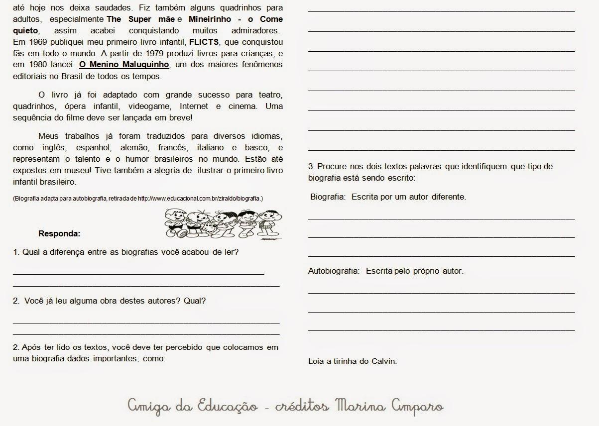 10 Atividades Sobre Autobiografia Prontas Para Imprimir