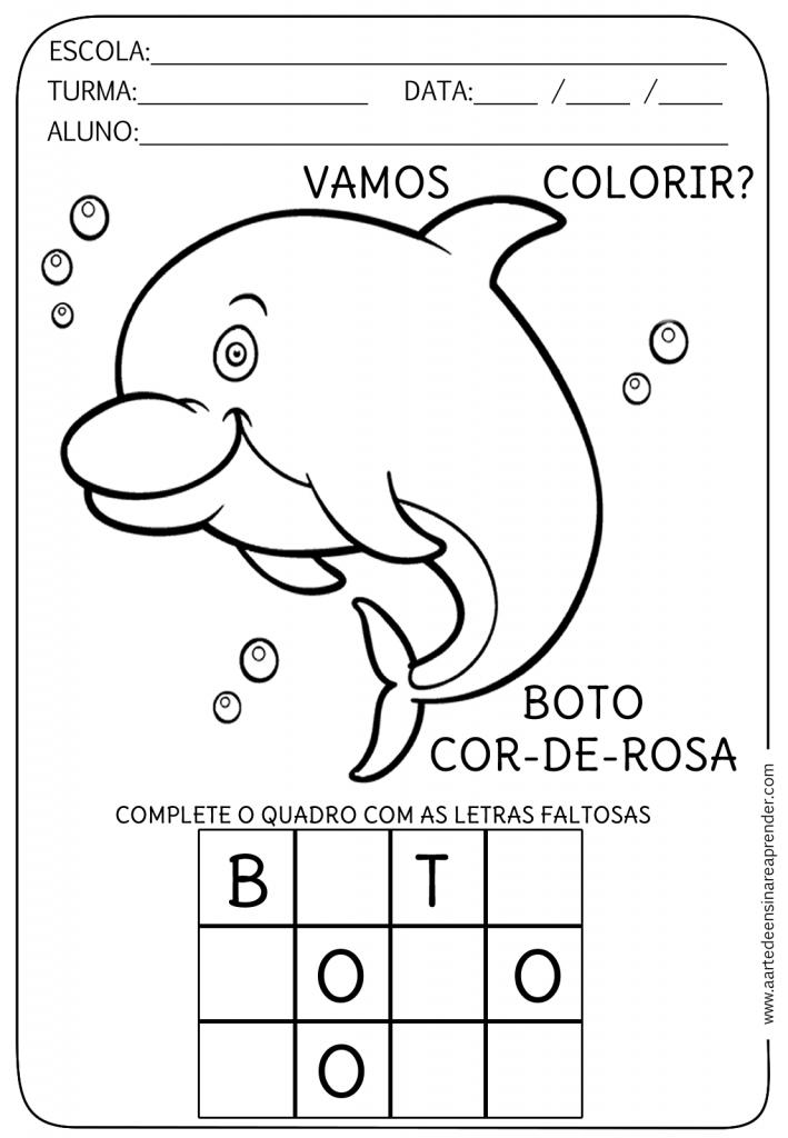 atividades sobre A LENDA DO BOTO COR DE ROSA