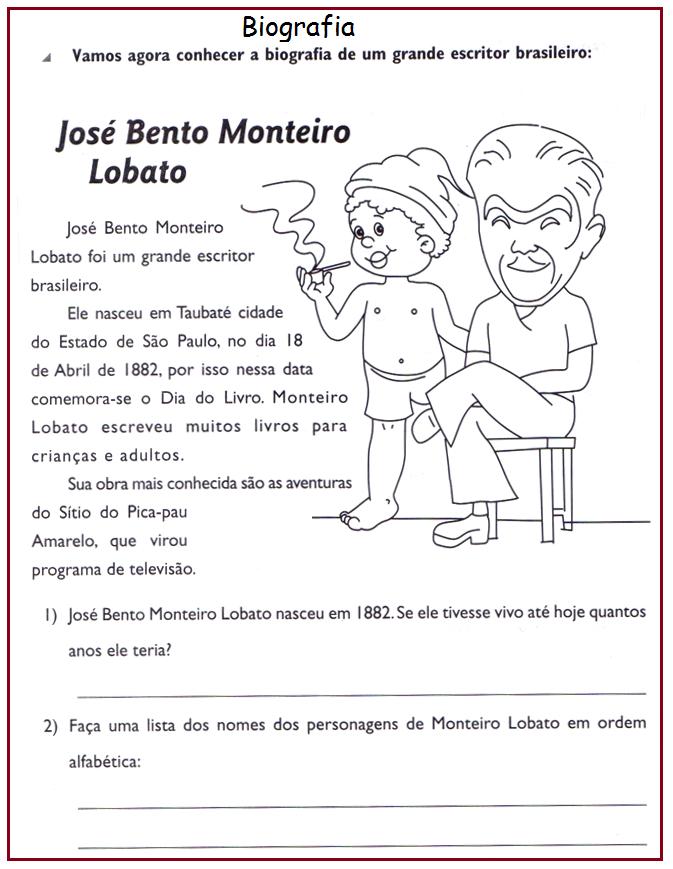 Atividades sobre Monteiro Lobato